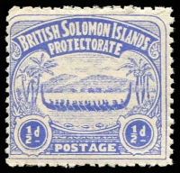 Lot 27461:1907 Large Canoes SG #1 ½d Ultramarine, part OG.