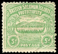 Lot 4313:1907 Large Canoes SG #5 5d emerald-green, very lightly cancelled.