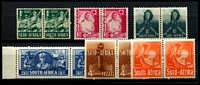 Lot 4384:1941-6 War Effort SG #88-93 ½d to 8d in pairs. (12)