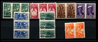Lot 4385:1942-4 War Effort Reduced Sizes SG #97-103 ½d to 6d in appropriate pair or triplets. (18)