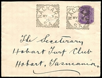 Lot 1763 [1 of 2]:1905 cover to Tasmania with 2d QV tied by fine strike Nackara squared circle cancel MY 3 05.