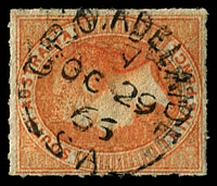 Lot 2043:1860-69 Second Roulettes SG #35 10d on 9d orange-red, with very light blue overprint.