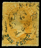Lot 2044:1860-69 Second Roulettes SG #36 10d on 9d yellow with blue overprint.