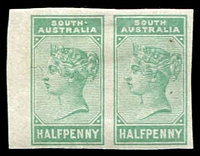 Lot 1699:1883-99 Wmk Crown/SA (Close) Perf 10 ½d imperf plate proof pair in green.