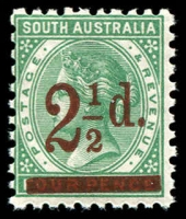 Lot 1700:1891-93 Surcharges Perf 10 SG #229 2½d on 4d pale green.