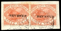 Lot 1951:1900 Overprinted 'REVENUE' SG #F34 3d pair tied to piece by cds NO 30 1900.
