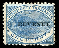Lot 10596:1900 Postal Fiscals Overprinted 'REVENUE' SG #F36 1d blue.