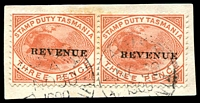 Lot 10093:1900 Postal Fiscals Overprinted 'REVENUE' SG #F34 3d pair tied to piece by cds NO 30 1900.