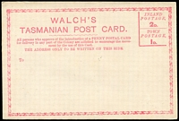 Lot 10129:1880 Walch's Tasmanian Post Card unusual private card issued to encourage the need for an official post card.