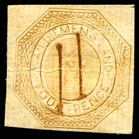 Lot 10248:1853 Imperf Courier Plate II 4d dull orange Reprint on card with two defacing chisel cuts.