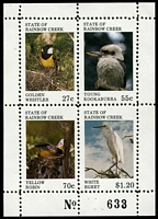 Lot 5:Birds: State of Rainbow Creek 1980 Birds M/sheet.