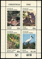 Lot 6:Birds: State of Rainbow Creek 1982 Christmas Birds M/sheet.