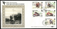 Lot 6:Motorcycles: Isle of Man 1991 80th Anniversary The Mountain Course with set tied to limited edition Benham silk FDC by special cancel 30 May 1991.