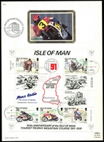 Lot 9:Motorcycles: Isle of Man 1991 80th Anniversary of Mountain Course sheetlet tied to limited edition Benham silk First day card by special cancel 30 May 1991.