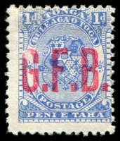 Lot 4643:1893 Opt G.F.B.: SG #O1 1d ultramarine, part gum.