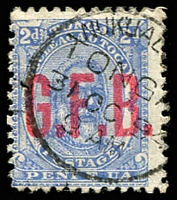 Lot 4644:1893 Opt G.F.B.: SG #O2 2d ultramarine.