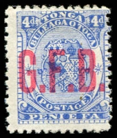 Lot 28885:1893 Opt G.F.B.: SG #O3 4d ultramarine, part gum.