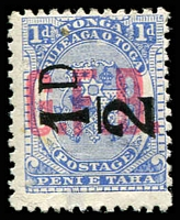 Lot 28888:1893 Surcharges: SG #O6 ½d on 1d ultramarine, mint no gum.