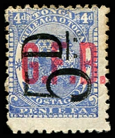 Lot 28890:1893 Surcharges: SG #O8 5d on 4d ultramine, mint no gum.