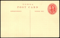 Lot 28507 [1 of 2]:1911 HG #2b 1d red on cream card with view 'Ovava. Captain Cook's Tree' in brown on reverse H&G 2b, minor adhesion on reverse o/wise fine.