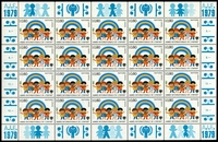 Lot 26194 [2 of 4]:1979 Year of the Child sets for New York and Geneva in complete sheetlets of twenty, attactive. (80)