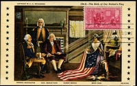 Lot 4265:1952 Anniversary Birth of Betsy Ross 3c tied to Maxi card by FDC Jan 2 1952, fine card.