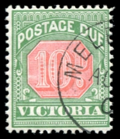 Lot 11686:1895 -6 Colours Changed SG #D17 10d rosine & bluish green, CTO.