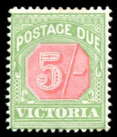 Lot 11689:1895 -6 Colours Changed SG #D20 5/- pale red & yellowish green.