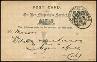 Lot 1864:Postmaster General: 1899 use of OHMS Postcard with frank cancelled by Melbourne cds FE 4 99.