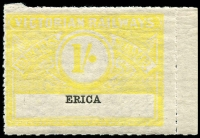 Lot 1834:1917 First Issue Wing Series 1/- yellow on white issued for Erica.