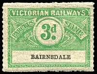 Lot 1879:1934 Eighth Series Third Issue IPC #3.1457 3d emerald on white issued for Bairnsdale Rated S.