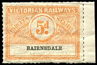 Lot 1881:1934 Eighth Series Third Issue IPC #3.1463 5d orange on white issued for Bairnsdale