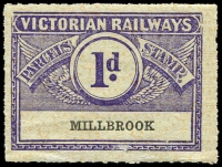 Lot 1835:1934 Third Issue Wing Series 1d bluish violet on pale sage-green with orange-yellow pattern issued for Millbrook rated scarce.