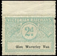 Lot 1836:1934 Third Issue Wing Series 2d blue-green on white with grey pattern issued for Glen Waverley Van.