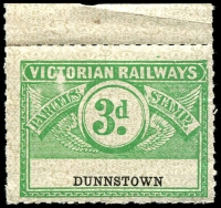Lot 2089:1934 Third Issue Wing Series 3d emerald on white with olive-green pattern issued for Dunnstown Rated S.