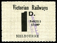 Lot 1887:1953-56 Tenth Series IPC #3.1545 1d black on white issued for Melbourne.