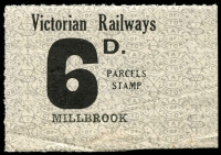Lot 2094:1953-58 Tenth Series 6d black on white issued for Millbrook.