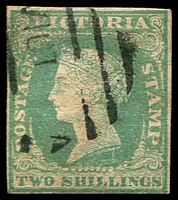 Lot 1816:1854-55 Imperf Calvert Woodblocks SG #35 2/- dull bluish green on pale yellow, four clear margins.