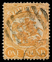 Lot 2358:1884-96 Stamp Duty Typo Wmk 1st V/Crown Perf 13 SG #262 £1 yellow-orange.