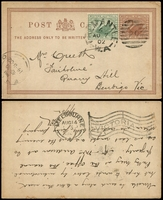 Lot 3514:1894 ½d Brown on Thick White Card PSSA #PC6 with ½d green added and used in 1902.