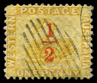 Lot 2969:1884 Surcharges SG #90 ½d on 1d yellow-ochre.