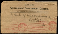 Lot 840:1920 usage of OHMS wrapper for Queensland Government Gazette with fine red 1d Paid at Brisbane 28 9 20 machine cancel.