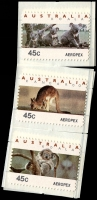 Lot 591 [1 of 2]:1994 Aeropex Koala & Kangaroo 45c Counter printed set of six. (6)