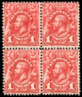 Lot 138:BW #59C 1d carmine-red block of 4.