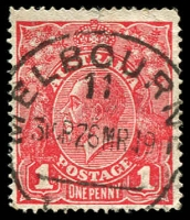 Lot 143:1d Red Die III - BW #75, small tear in top margin.