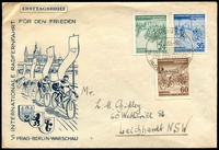 Lot 3633:1953 International Cycling Race set tied to illustrated FDC by Berlin cds 2 5 53.