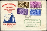 Lot 3679:1948 Olympic Games illustrated FDC with set tied by special Wembley cancel 29 JLY 1948.