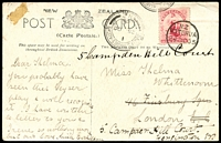 Lot 4097 [1 of 2]:1905 usage of PPC of Wairoa Geyser to England with 1d Dominion tied by Rotorua cds 24 Oc 05 with fine double circle Thames-Auckland TPO cancel at left, nice item.