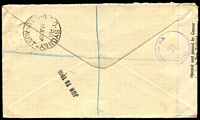 Lot 4093 [2 of 2]:1939 KVI 2d on 1d Surcharge HG #25 Registered use to Australia with additional 5d tied by Eltham cds19JE40 with Eltham Registration label at left and New Zealand censor tape and censor marking, nice usage.