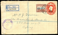 Lot 4093 [1 of 2]:1939 KVI 2d on 1d Surcharge HG #25 Registered use to Australia with additional 5d tied by Eltham cds19JE40 with Eltham Registration label at left and New Zealand censor tape and censor marking, nice usage.
